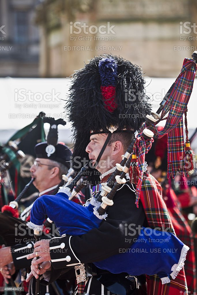Pipers, George Square, Glasgow: Piping Live festivaL stock photo