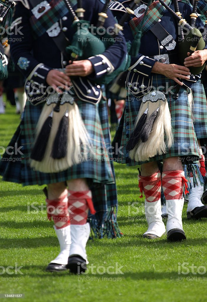 Pipers in a Marching Band, Scotland royalty-free stock photo