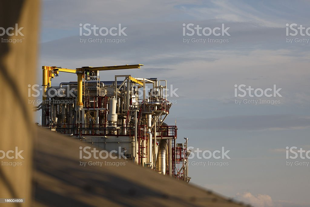 Pipes and cranes on a cold box. stock photo