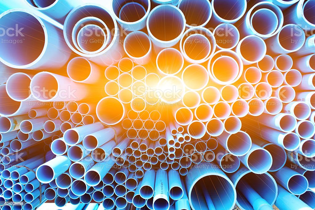 PVC pipes and sun ligth bacground stock photo