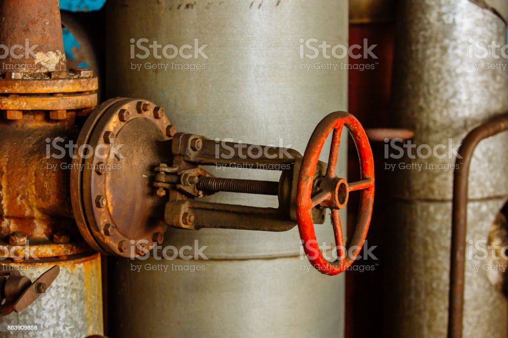 Pipes and valves. Oil or gas pipeline valves. Modern plant with pipeline valves. stock photo