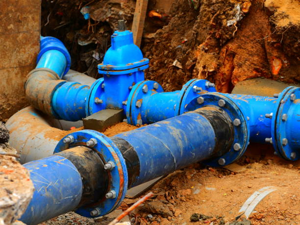 Pipes and valves underground Paint, Pipe - Tube, Green Color, Industry, Machine Valve sewer stock pictures, royalty-free photos & images