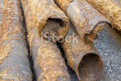 pipes clogged with sediment rust