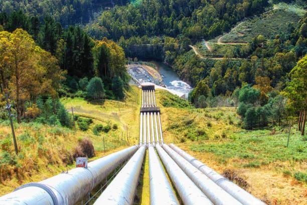 pipes for a pumped-storage power plant - энергия воды стоковые фото и изображения