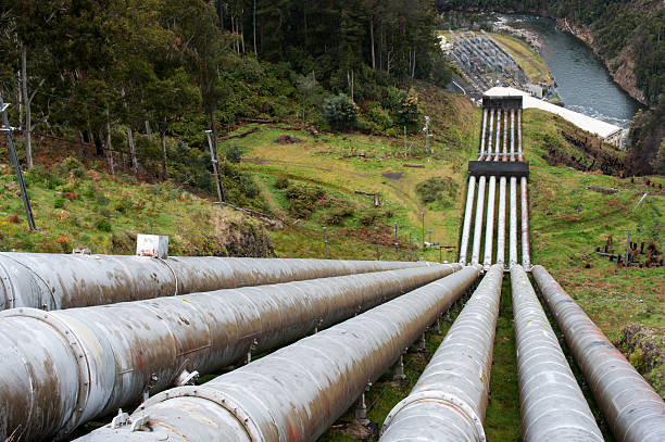 Pipes for a pumped-storage power plant stock photo