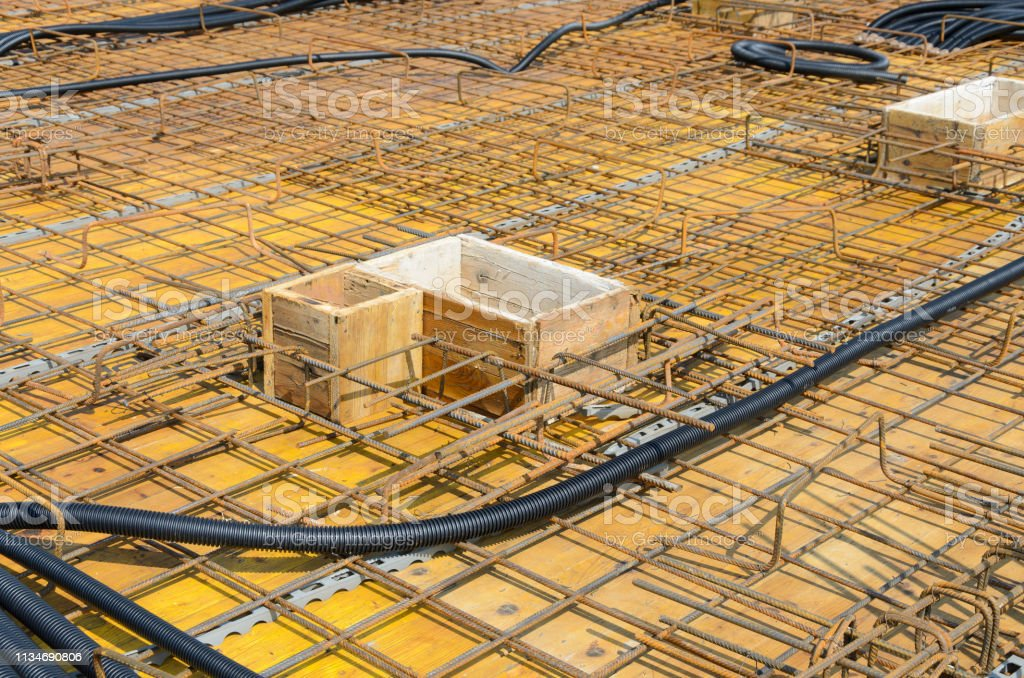Electrical pipes on construction site