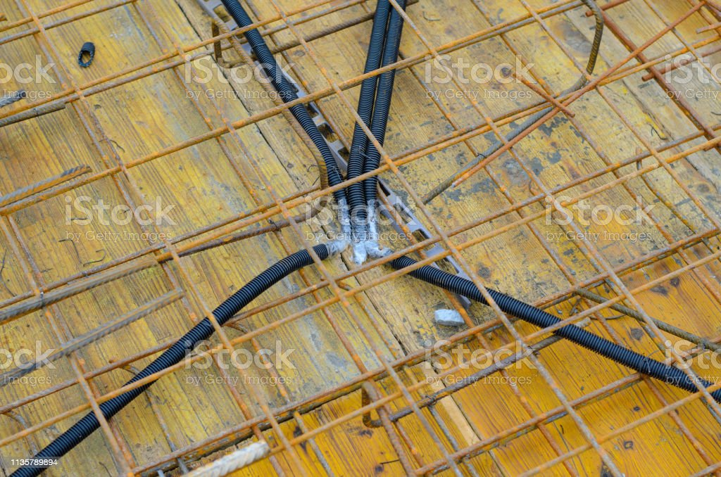 Pipes for electrical network located on construction site