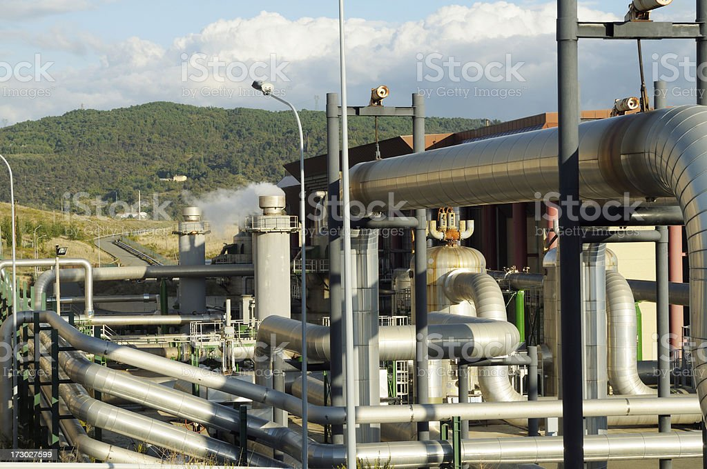 Pipes in a geothermal power station royalty-free stock photo