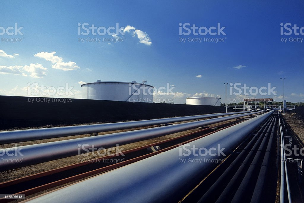 pipes in pump station of refinery royalty-free stock photo