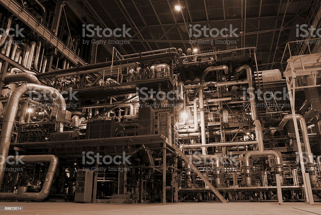 Pipes inside energy plant royalty-free stock photo