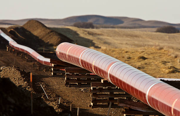 Pipes laid out for Natural Gas Pipeline stock photo