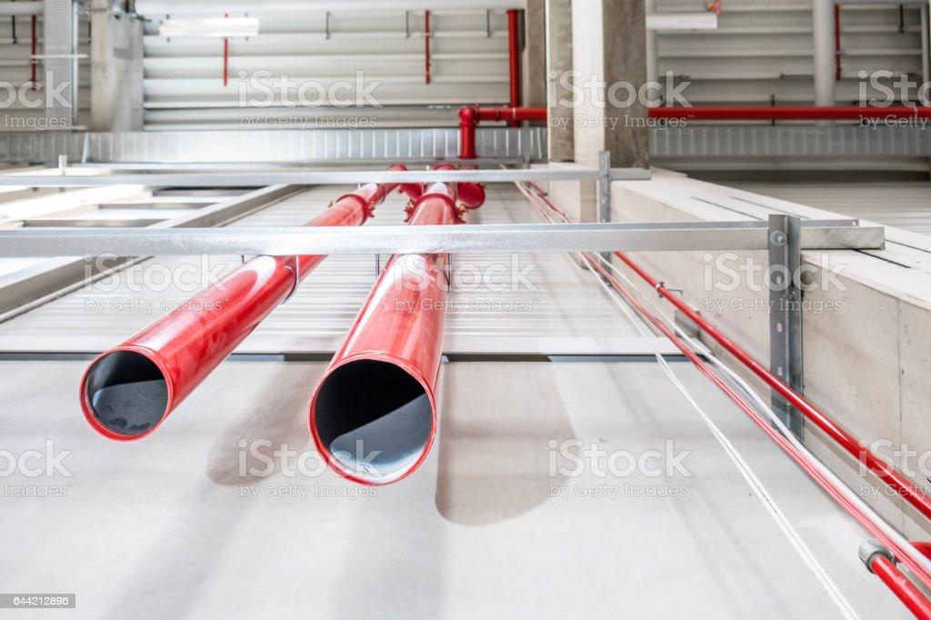 Pipes of a huge sprinkler system stock photo