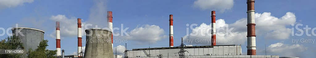 Pipes of coal  burning power station, panorama. Moscow, Russia royalty-free stock photo