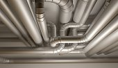 Pipes of HVAC system. 3D Illustration.