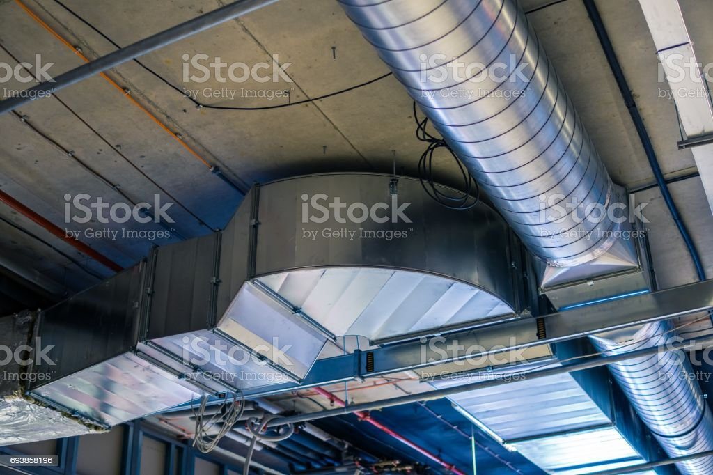 Pipes of HVAC  system (heating ventilation and air conditioning). stock photo