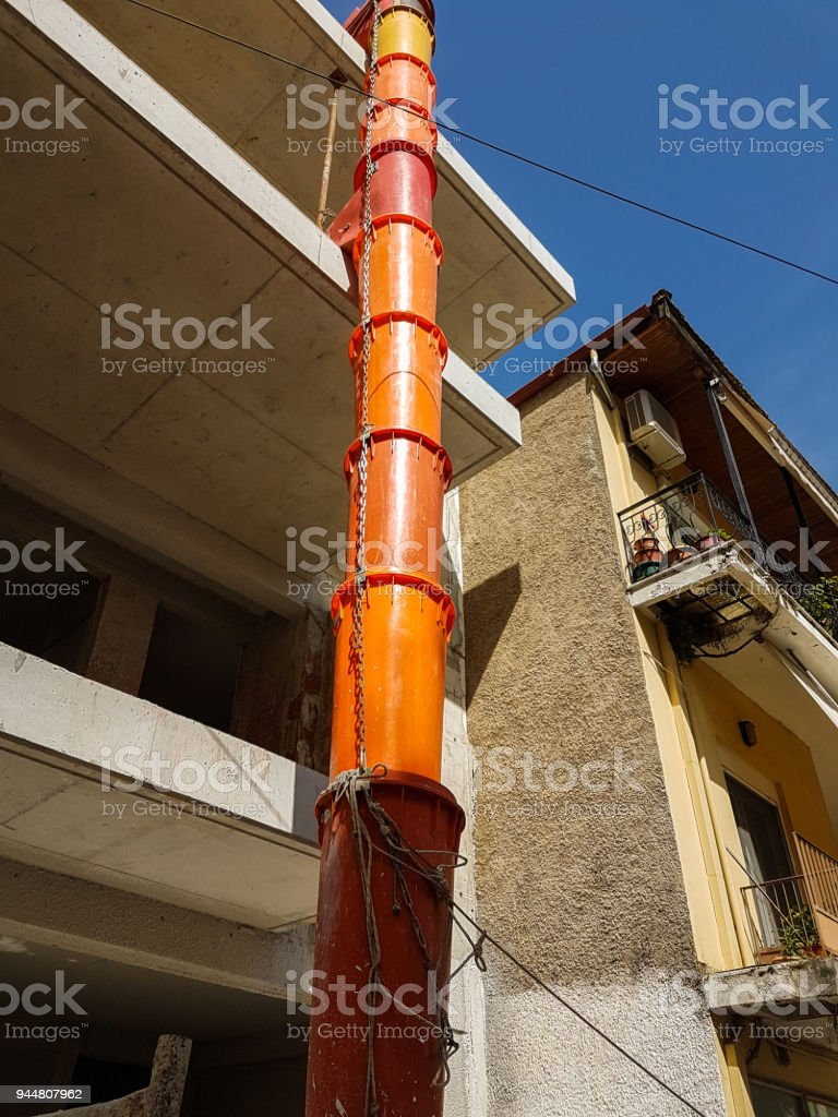 pipes plastic like snake to transport aggregate  materials from building in construction process stock photo