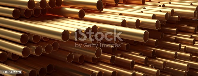 Copper pipes tubes background. Round shape metal tubing stacked, banner. Products for utilities services, construction industry. 3d illustration