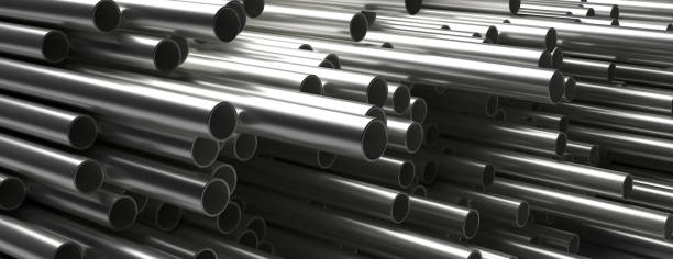 Pipes tubes steel metal, round profile, stacked full background. 3d illustration Pipes tubes steel metal background. Round shale stacked, banner. Products for utilities services, construction industry. 3d illustration tube stock pictures, royalty-free photos & images