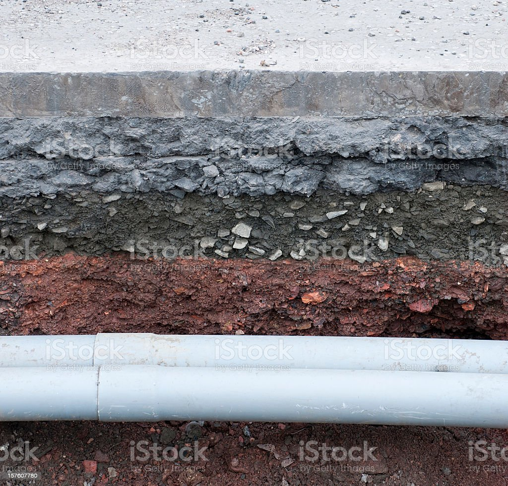 Pipes Under The Road Surface stock photo