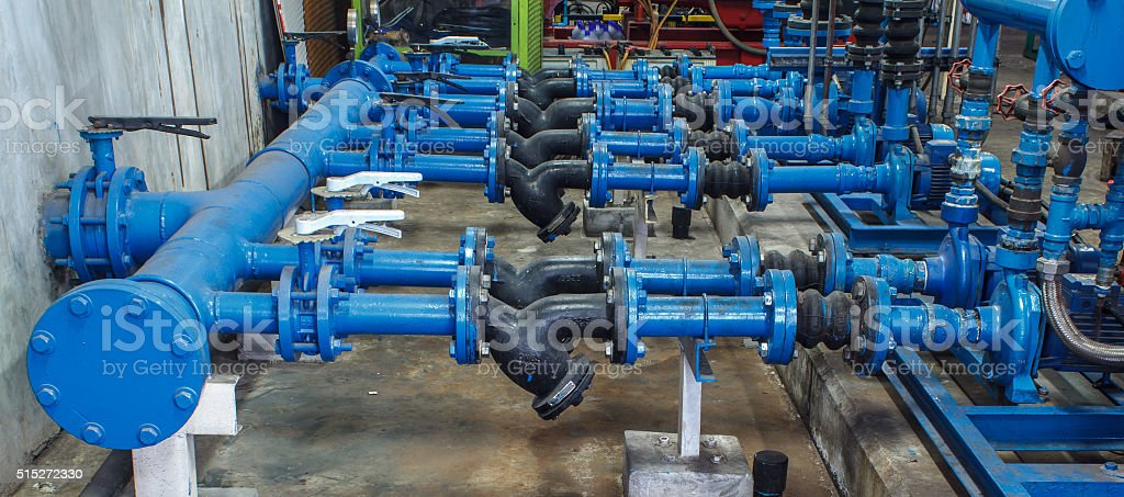 pipes valve connection blue stock photo
