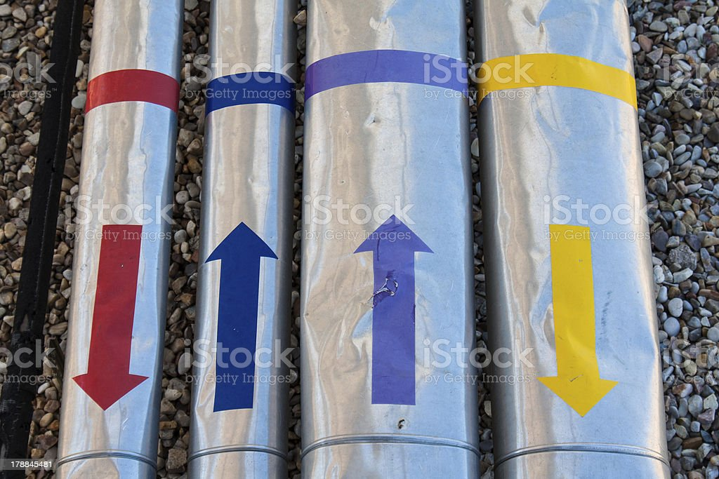pipes with colored arrows royalty-free stock photo