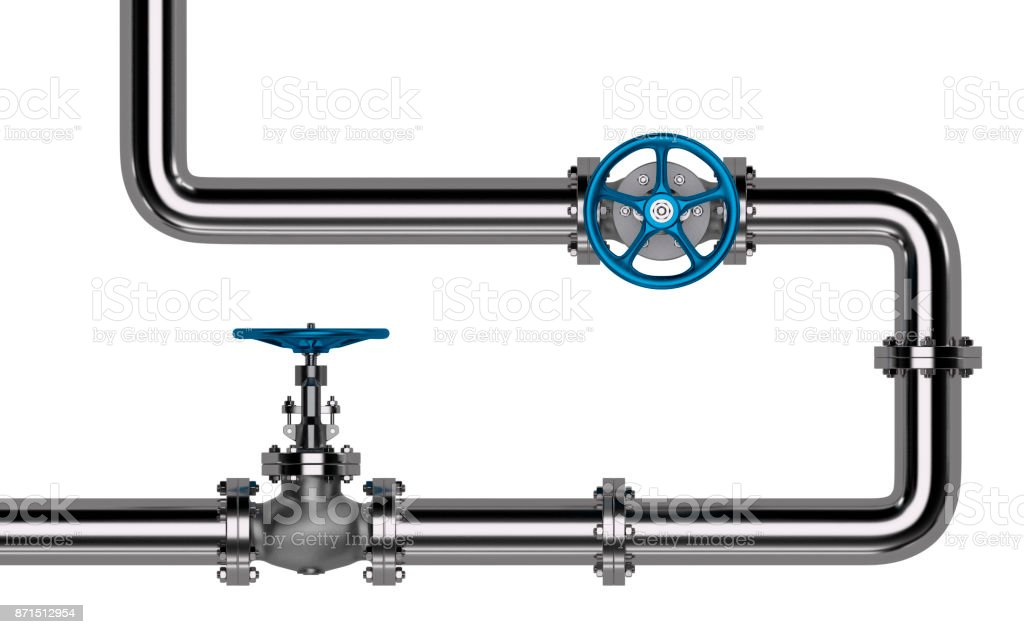 Pipes with Valves isolated stock photo