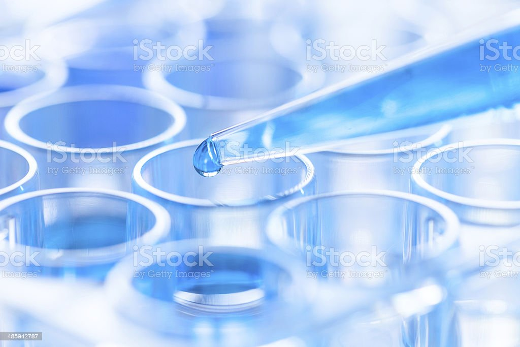 pipette and test tube in a laboratory stock photo
