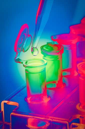istock Pipette drop in vial: colorful 1177564479