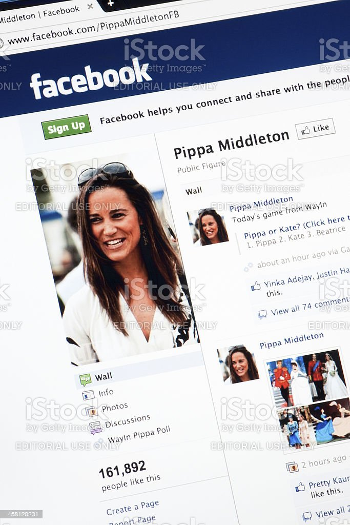 Pippa Middleton Page on Facebook.com royalty-free stock photo