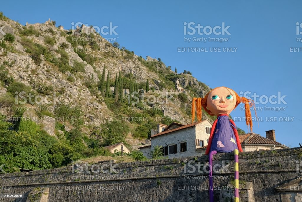Pippi Longstocking In Kotor Old Town, Montenegro stock photo