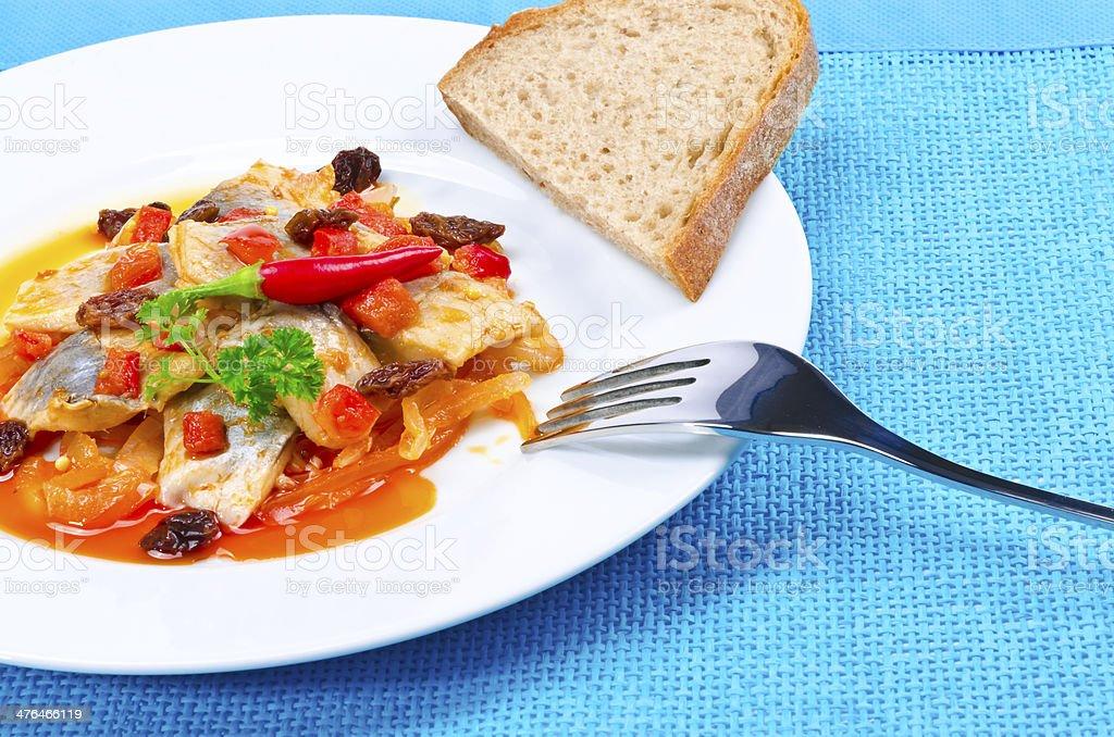 Piquant Gdanska salad stock photo