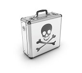 """""""Skull And Cross Bones symbol on a metallic suitcase represents Unsafe travel, dangerous or pirated stuff.. etcMore Business Suitcase or briefcase icons:"""""""