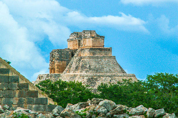piramide of uxmal, mexico - uxmal stock photos and pictures