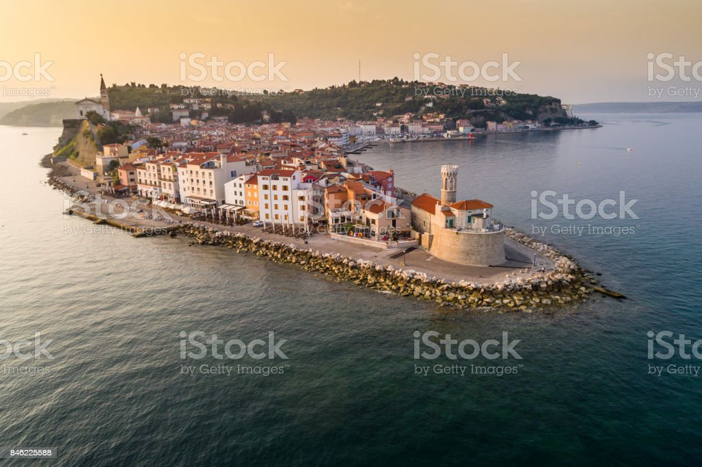Piran on Slovenian adriatic coast in morning sun stock photo