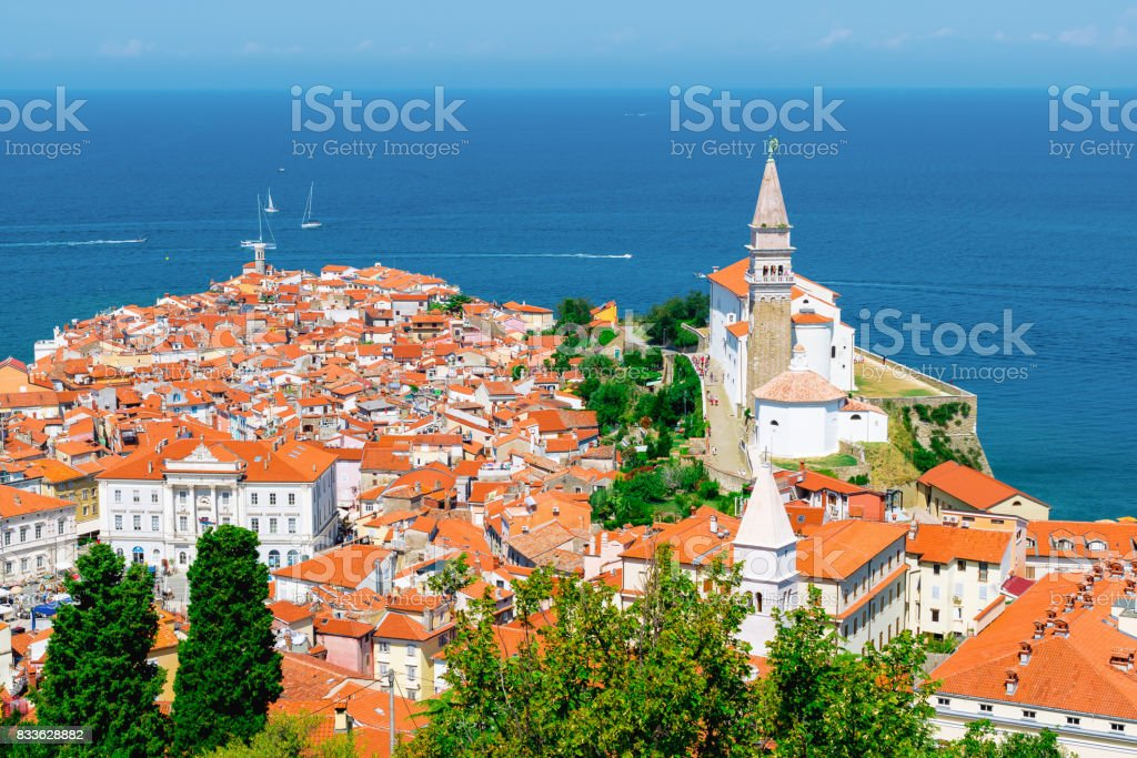 Piran, Slovenia. View from atop the city walls. stock photo