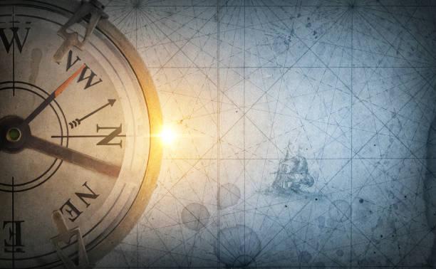 piraten und nautische thema grunge hintergrund. am alten meer kompass auf abstrakte kartenhintergrund. retro-stil. - karte navigationsinstrument stock-fotos und bilder