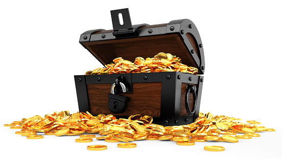 Digitally generated image of opened chest full of golden coins. Isolate on white