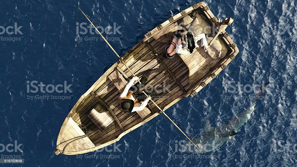 Pirate couple in rowboat from overhead stock photo