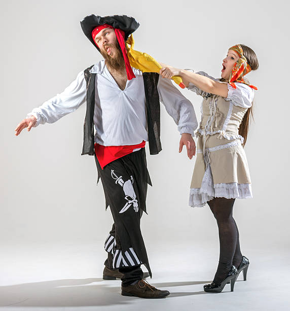 pirate couple showdown - eastern european culture stock photos and pictures