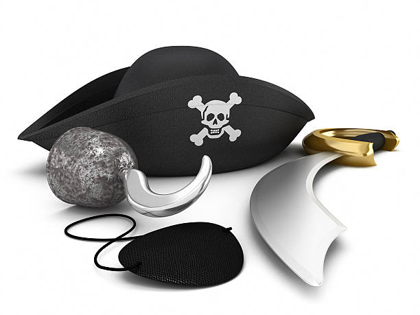 Pirate equipment Pirate hat, hook, eyepatch and sword isolated on white. costume eye patch stock pictures, royalty-free photos & images