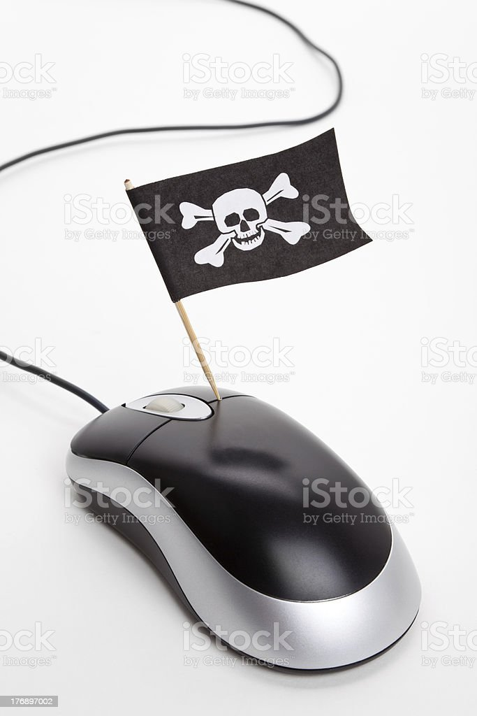 Pirate Flag and Computer Mouse royalty-free stock photo