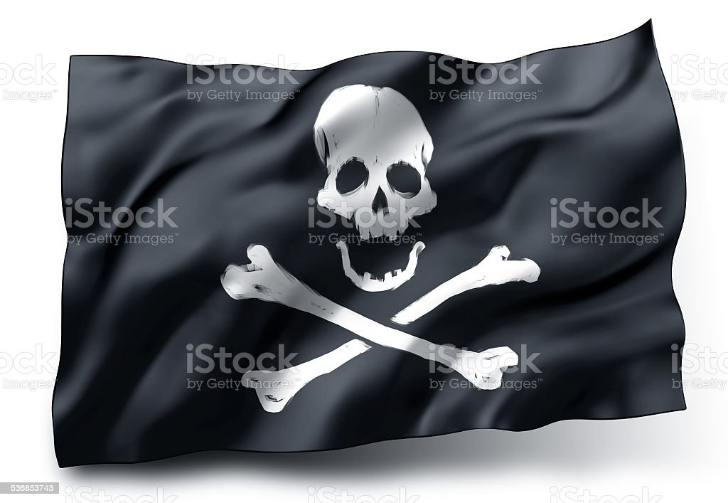 Pirate flag Jolly Roger stock photo