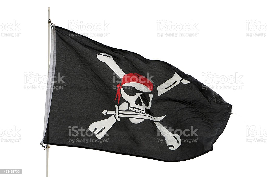 Bandera pirata sobre fondo blanco - foto de stock