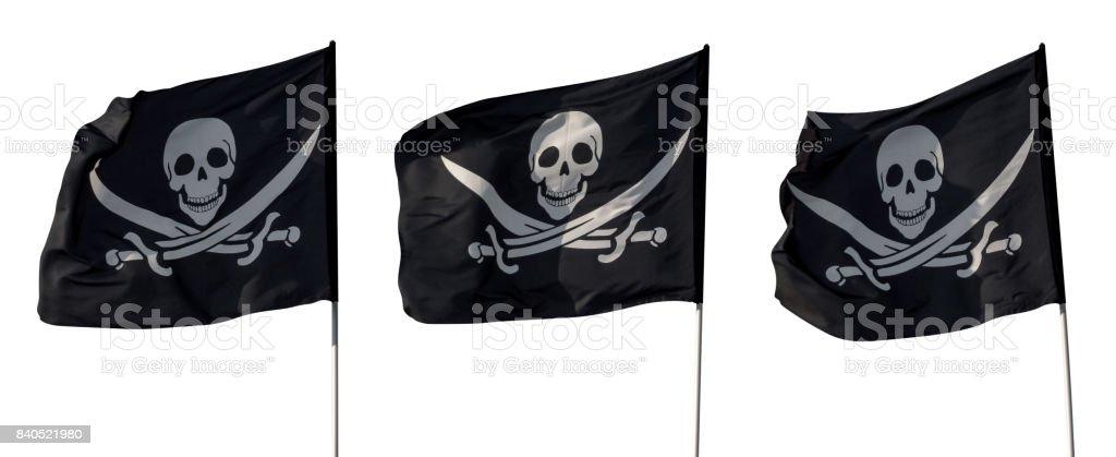 Bandeiras piratas isoladas - foto de acervo