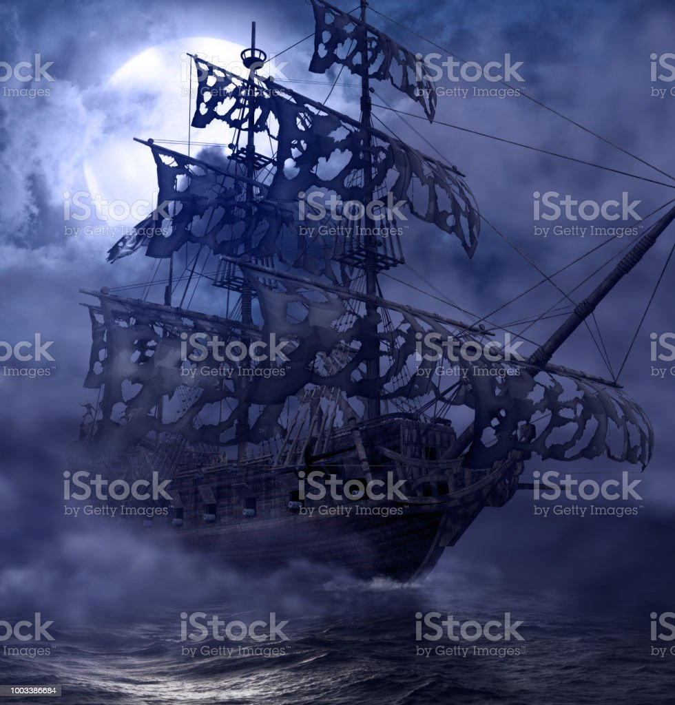 Pirata fantasma barco errante - foto de stock