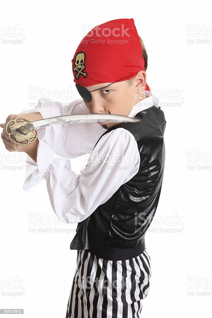 Pirate holding a cutlass sword royalty-free stock photo