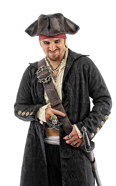 pirate in black - forward facing - pirates stock photos and pictures