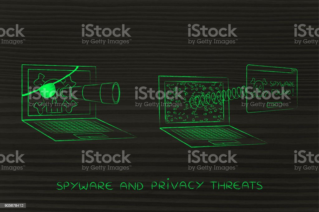 pirate laptop spying another one, with pop-up Spyware Found stock photo