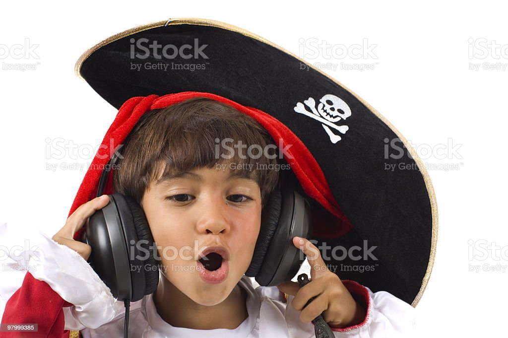 Pirate Listen Music royalty-free stock photo
