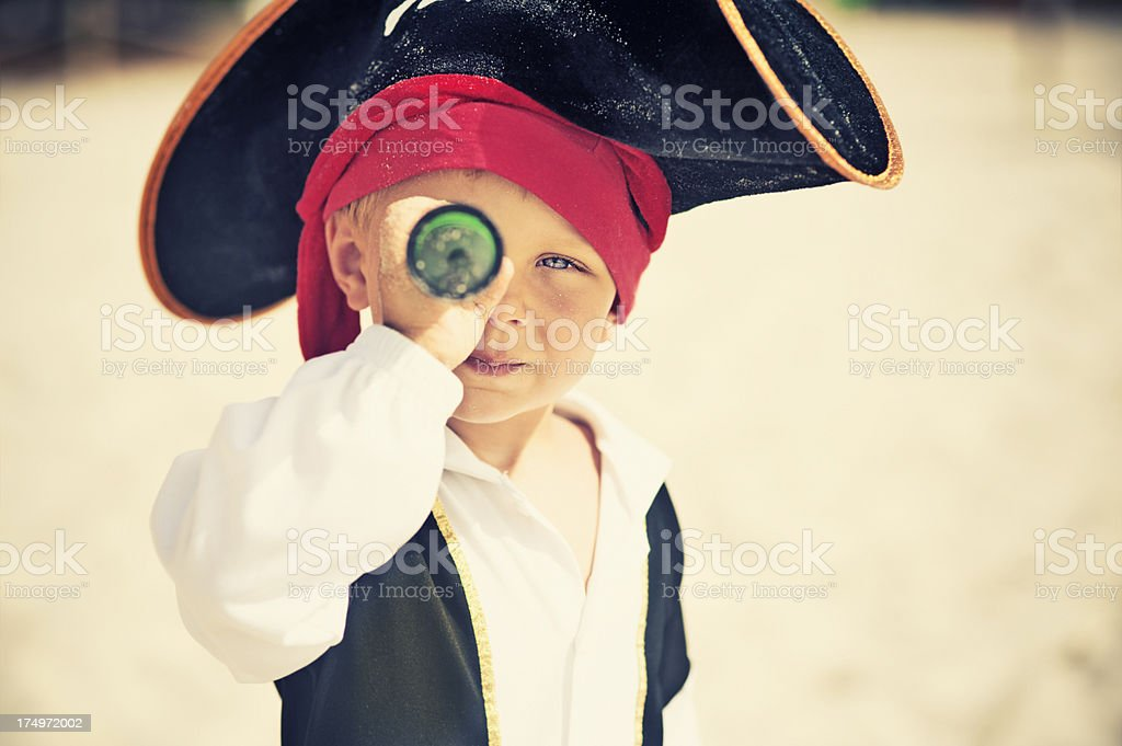 Pirate looking with spyglass stock photo
